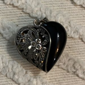 Marcasite and Onyx Sterling Silver Heart Locket